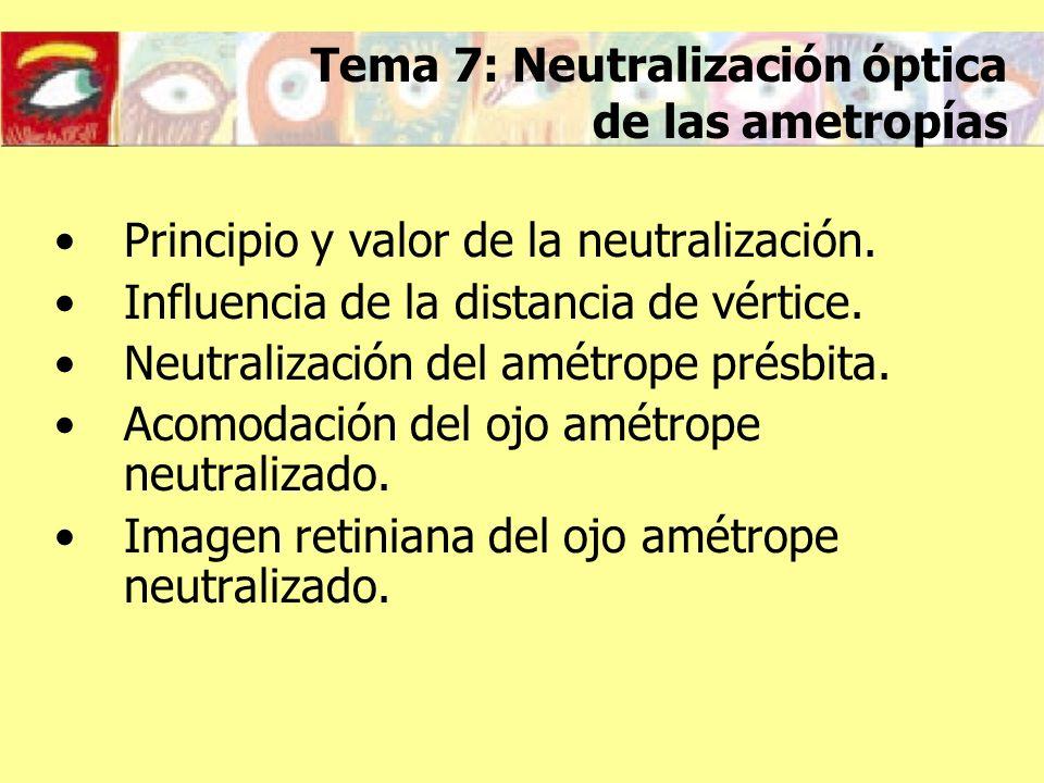 Tema 7: Neutralización óptica de las ametropías Principio y valor de la neutralización. Influencia de la distancia de vértice. Neutralización del amét