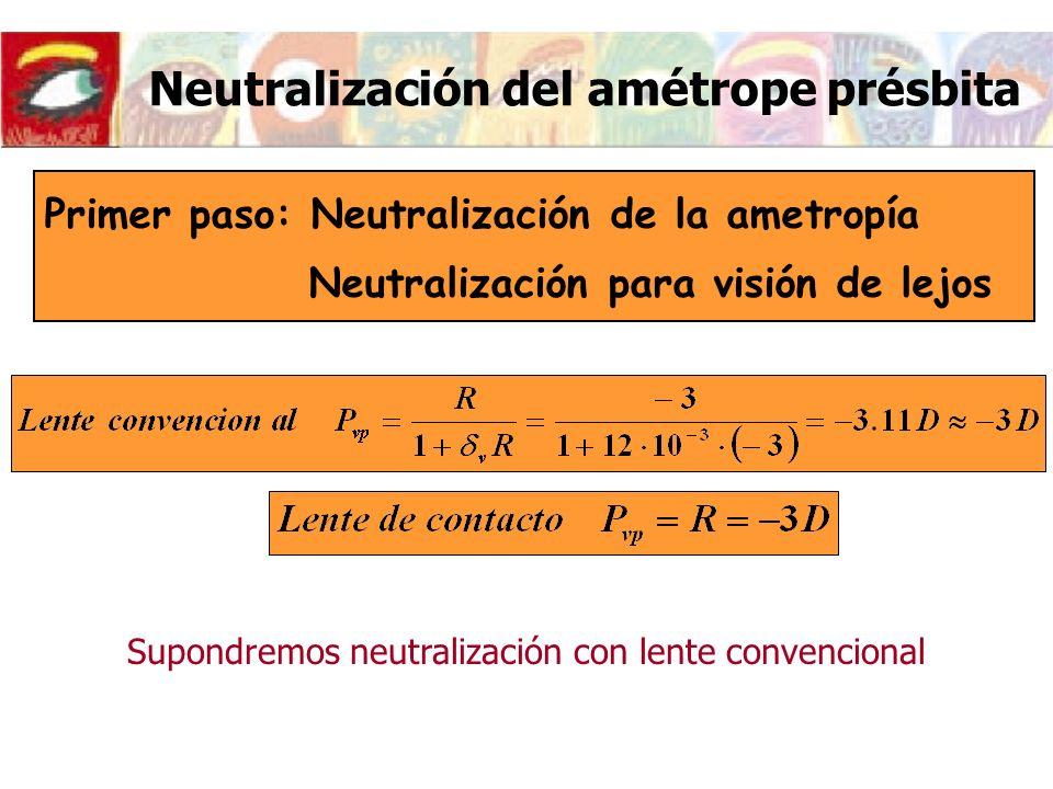 Neutralización del amétrope présbita Primer paso: Neutralización de la ametropía Neutralización para visión de lejos Supondremos neutralización con le