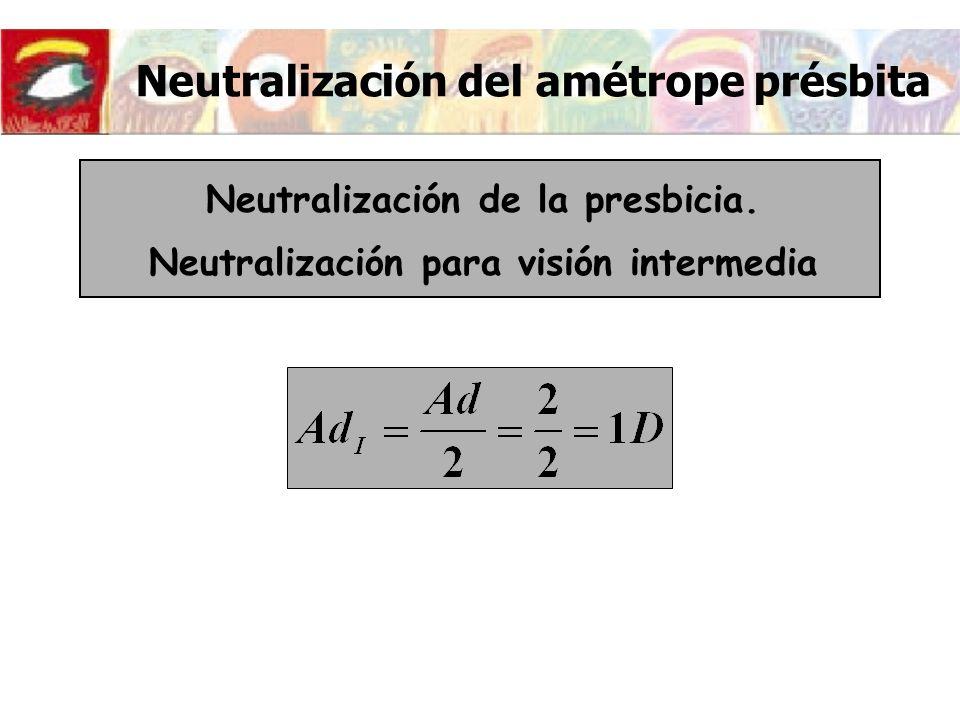 Neutralización del amétrope présbita Neutralización de la presbicia. Neutralización para visión intermedia