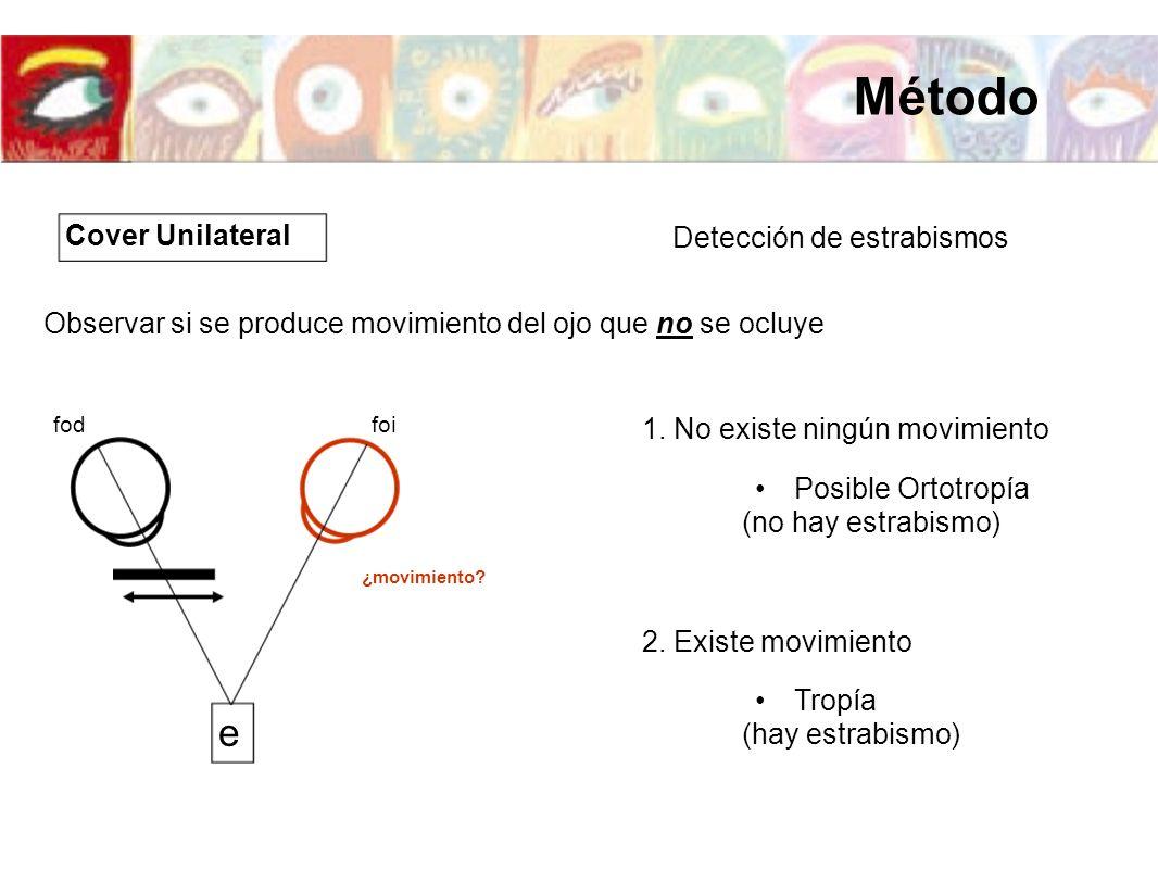 Detección de estrabismos 1. No existe ningún movimiento Observar si se produce movimiento del ojo que no se ocluye 2. Existe movimiento Posible Ortotr
