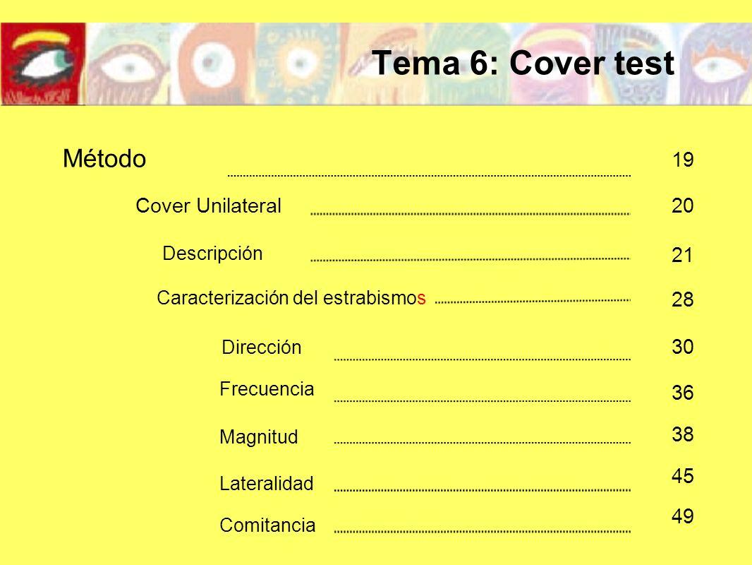 Descripción Método Cover Unilateral 19 20 21 Caracterización del estrabismos 28 Dirección Frecuencia Magnitud Lateralidad Comitancia 30 36 38 45 49 Te