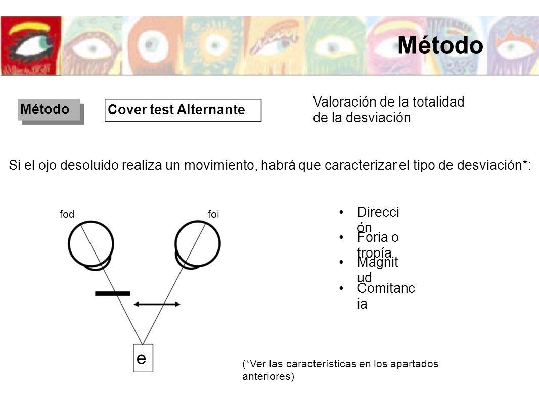 Si el ojo desoluido realiza un movimiento, habrá que caracterizar el tipo de desviación*: Direcci ón Magnit ud Comitanc ia Cover test Alternante Valor