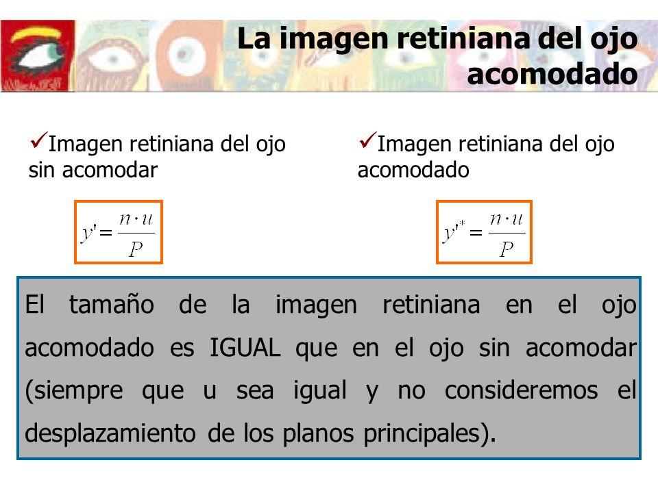 La imagen retiniana del ojo acomodado Imagen retiniana del ojo acomodado Imagen retiniana del ojo sin acomodar El tamaño de la imagen retiniana en el ojo acomodado es IGUAL que en el ojo sin acomodar (siempre que u sea igual y no consideremos el desplazamiento de los planos principales).