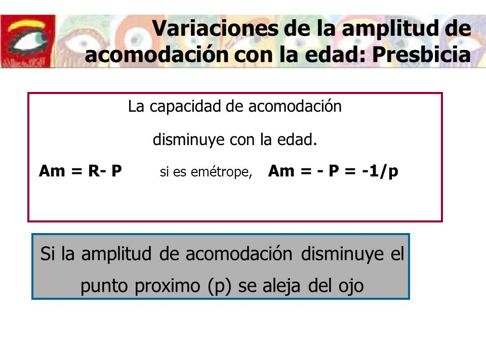 Variaciones de la amplitud de acomodación con la edad: Presbicia La capacidad de acomodación disminuye con la edad.