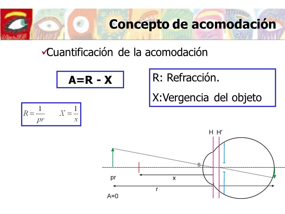 Variaciones de la amplitud de acomodación con la edad: Presbicia Am = R- P …en el emétrope Am = - P = - 1/p Caso 2: Disminución de la amplitud de acomodación con la edad (aparece la presbicia) pr = pp ZVN dTdT PRESBICIA