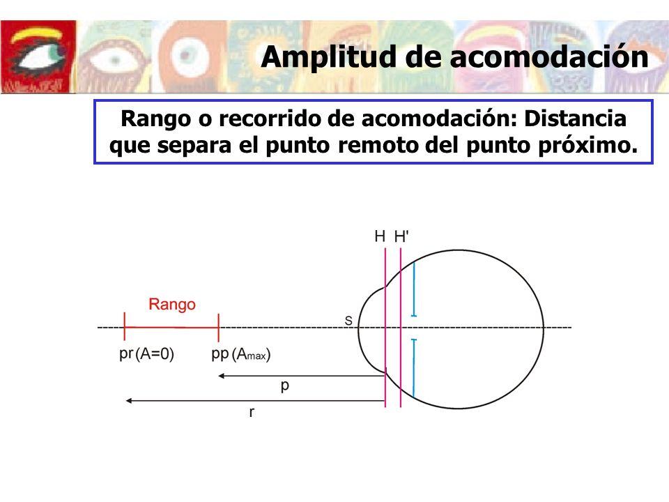 Modificaciones del ojo al acomodar A=0DA=7D Índices de refracción Córnea1.3771 Humor acuoso1.33741.3774 Cristalino1.421.427 Humor vitreo1.336 Abcisas (respecto al vértice de la córnea) Sup.
