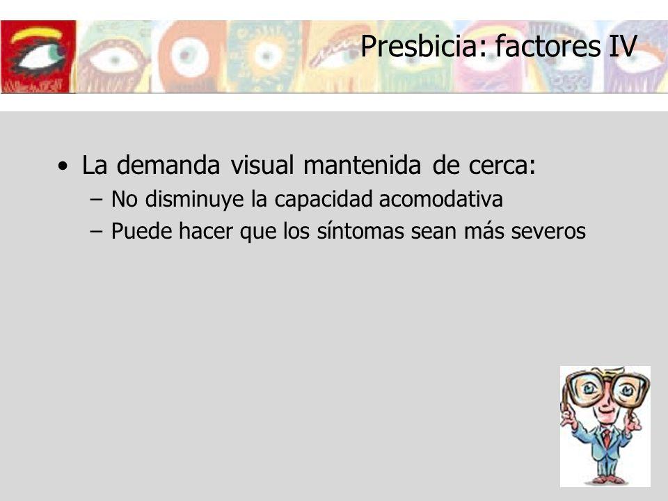 Presbicia: factores IV La demanda visual mantenida de cerca: –No disminuye la capacidad acomodativa –Puede hacer que los síntomas sean más severos