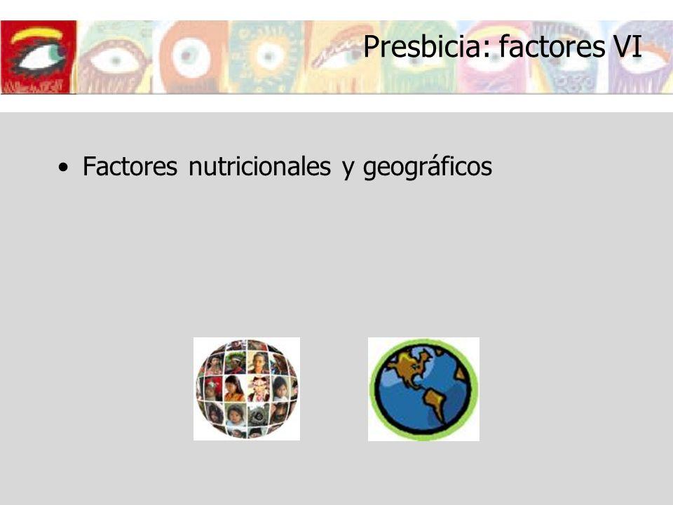 Presbicia: factores VI Factores nutricionales y geográficos