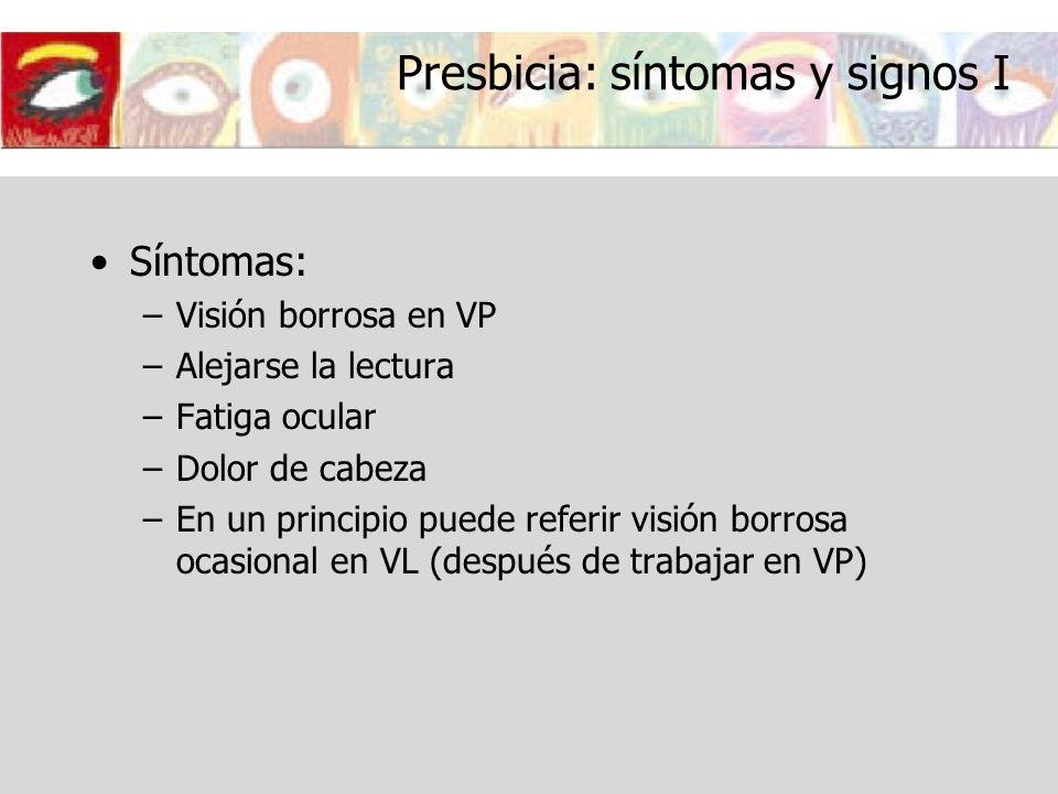 Presbicia: síntomas y signos I Síntomas: –Visión borrosa en VP –Alejarse la lectura –Fatiga ocular –Dolor de cabeza –En un principio puede referir vis