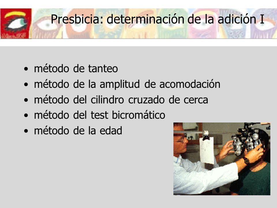 Presbicia: determinación de la adición I método de tanteo método de la amplitud de acomodación método del cilindro cruzado de cerca método del test bi