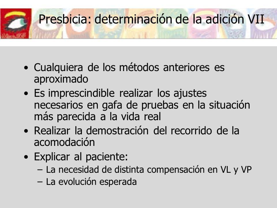 Presbicia: determinación de la adición VII Cualquiera de los métodos anteriores es aproximado Es imprescindible realizar los ajustes necesarios en gaf