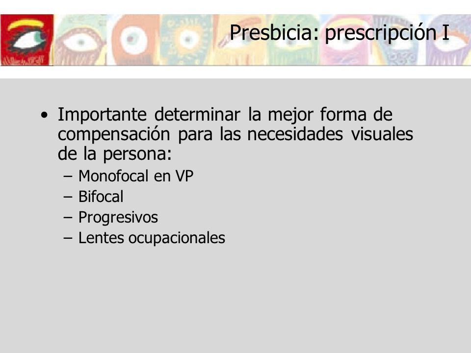 Presbicia: prescripción I Importante determinar la mejor forma de compensación para las necesidades visuales de la persona: –Monofocal en VP –Bifocal