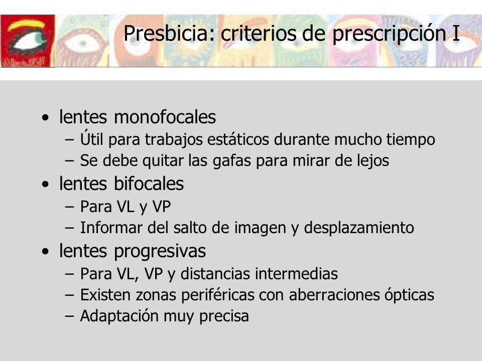 Presbicia: criterios de prescripción I lentes monofocales –Útil para trabajos estáticos durante mucho tiempo –Se debe quitar las gafas para mirar de l