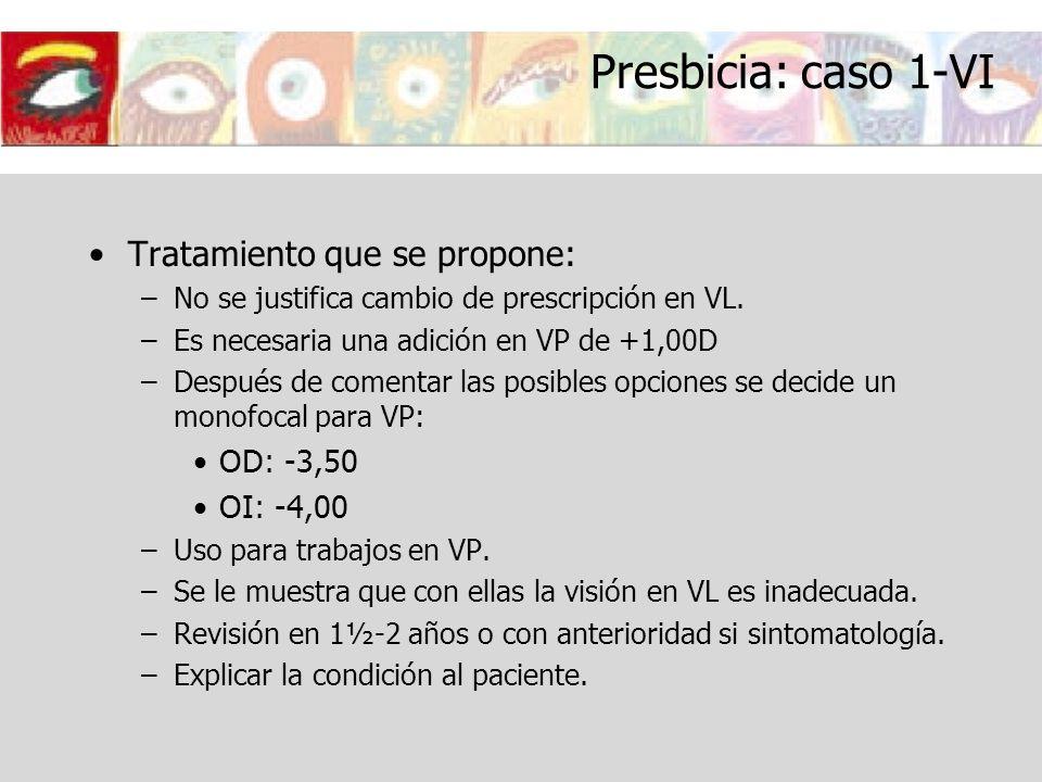 Presbicia: caso 1-VI Tratamiento que se propone: –No se justifica cambio de prescripción en VL. –Es necesaria una adición en VP de +1,00D –Después de