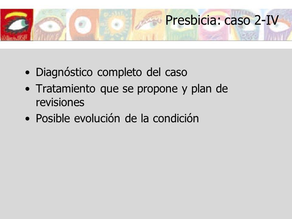 Presbicia: caso 2-IV Diagnóstico completo del caso Tratamiento que se propone y plan de revisiones Posible evolución de la condición