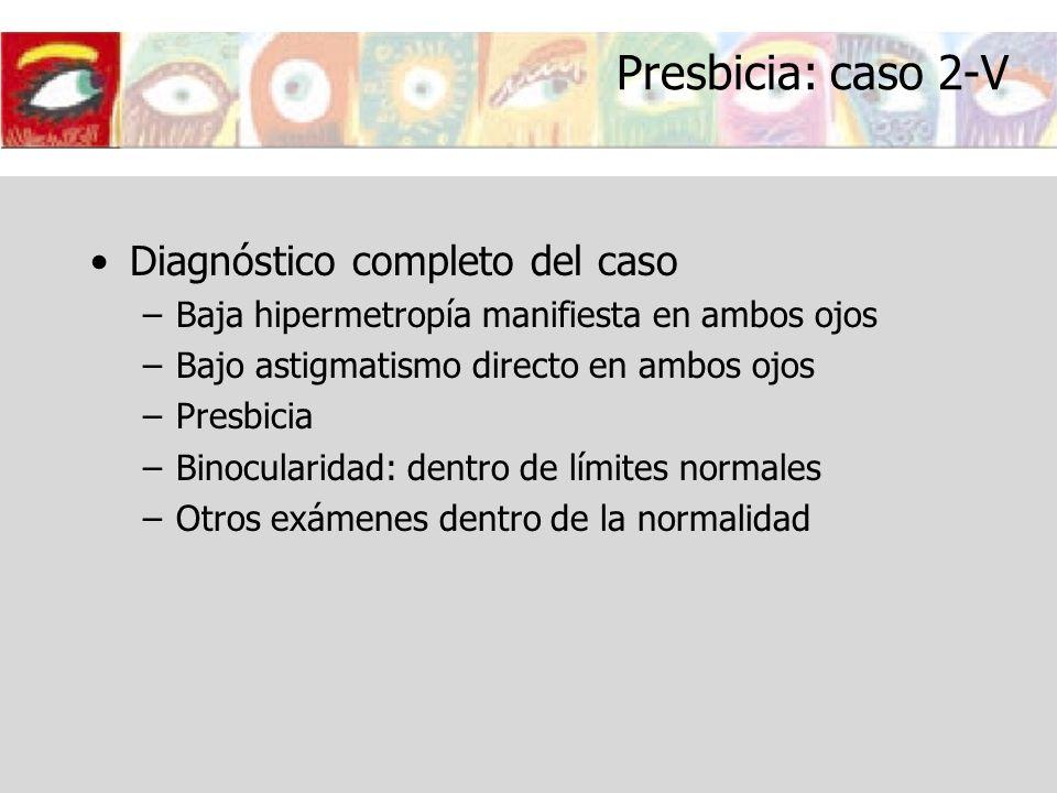 Presbicia: caso 2-V Diagnóstico completo del caso –Baja hipermetropía manifiesta en ambos ojos –Bajo astigmatismo directo en ambos ojos –Presbicia –Bi