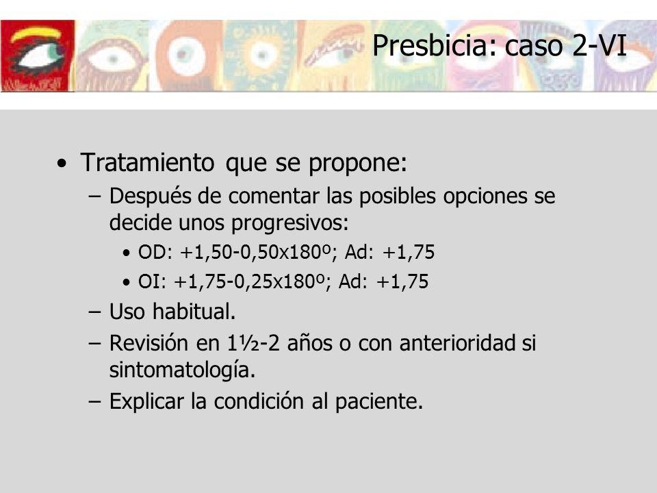 Presbicia: caso 2-VI Tratamiento que se propone: –Después de comentar las posibles opciones se decide unos progresivos: OD: +1,50-0,50x180º; Ad: +1,75
