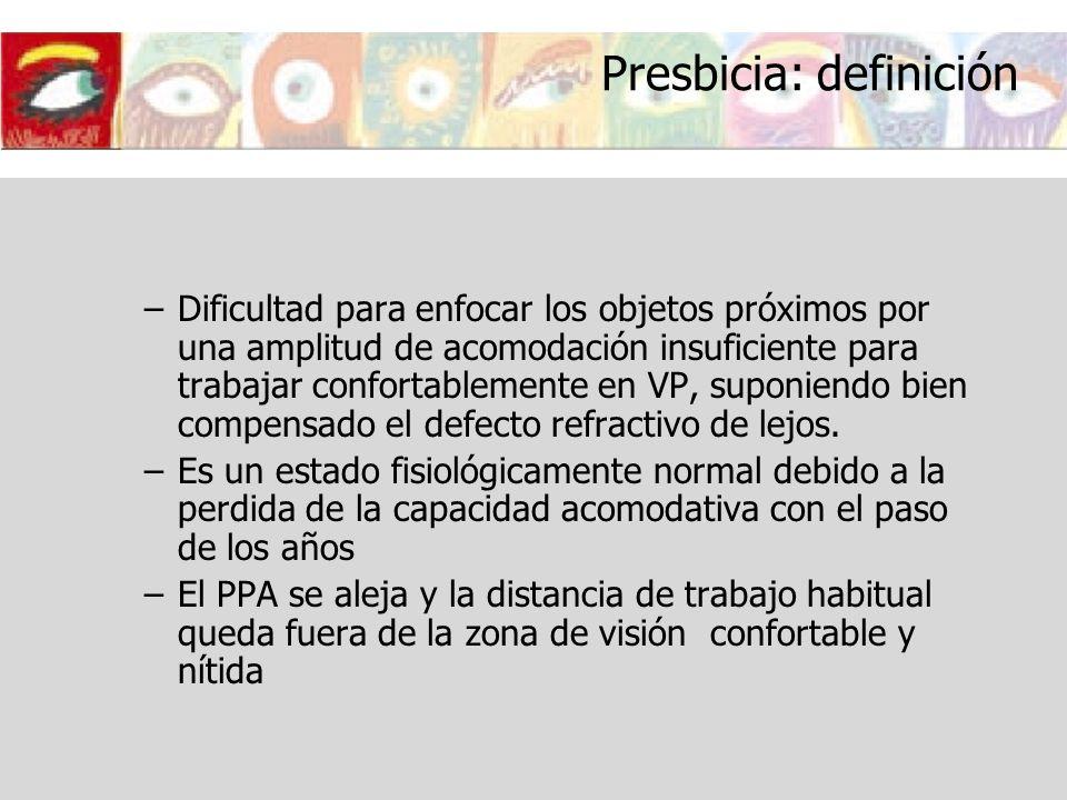 Presbicia: definición –Dificultad para enfocar los objetos próximos por una amplitud de acomodación insuficiente para trabajar confortablemente en VP,