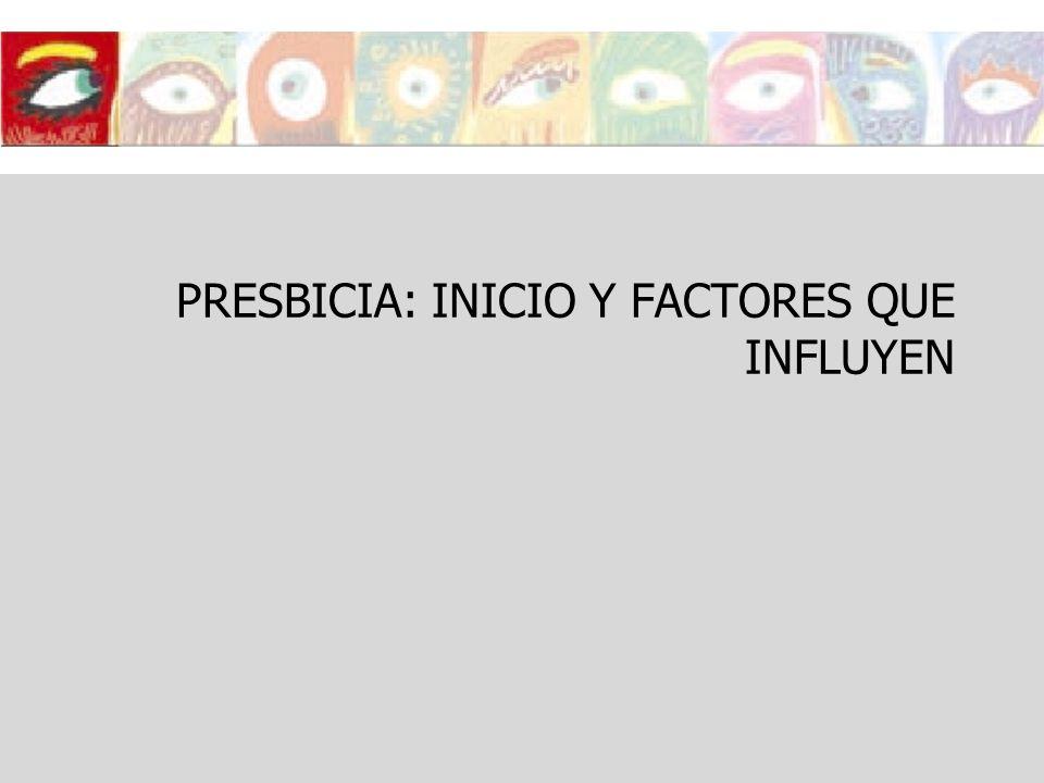 PRESBICIA: INICIO Y FACTORES QUE INFLUYEN