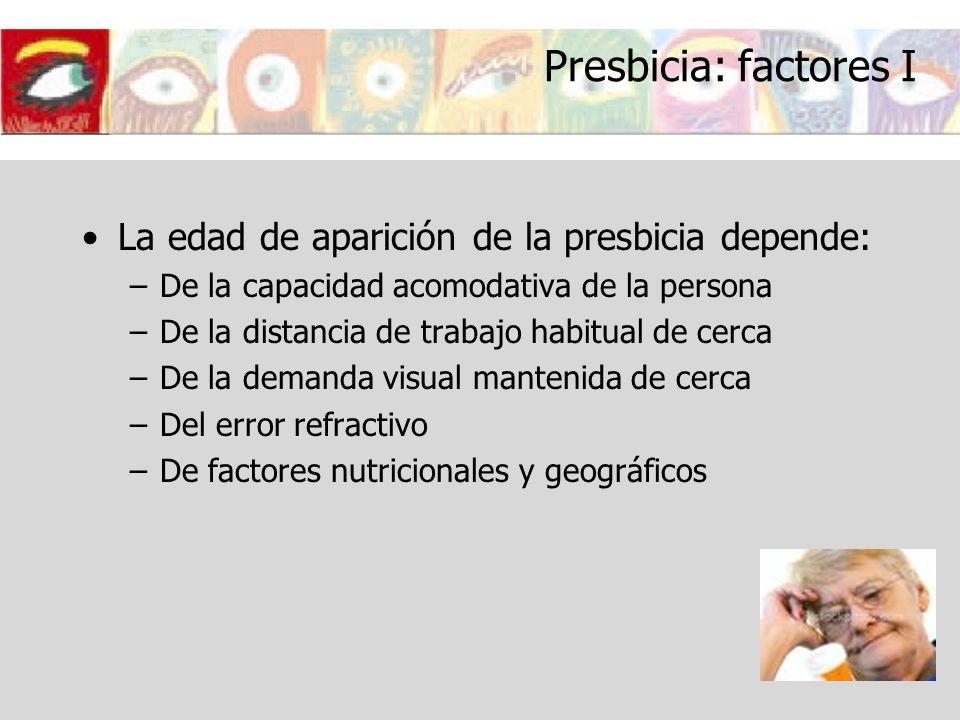 Presbicia: factores I La edad de aparición de la presbicia depende: –De la capacidad acomodativa de la persona –De la distancia de trabajo habitual de