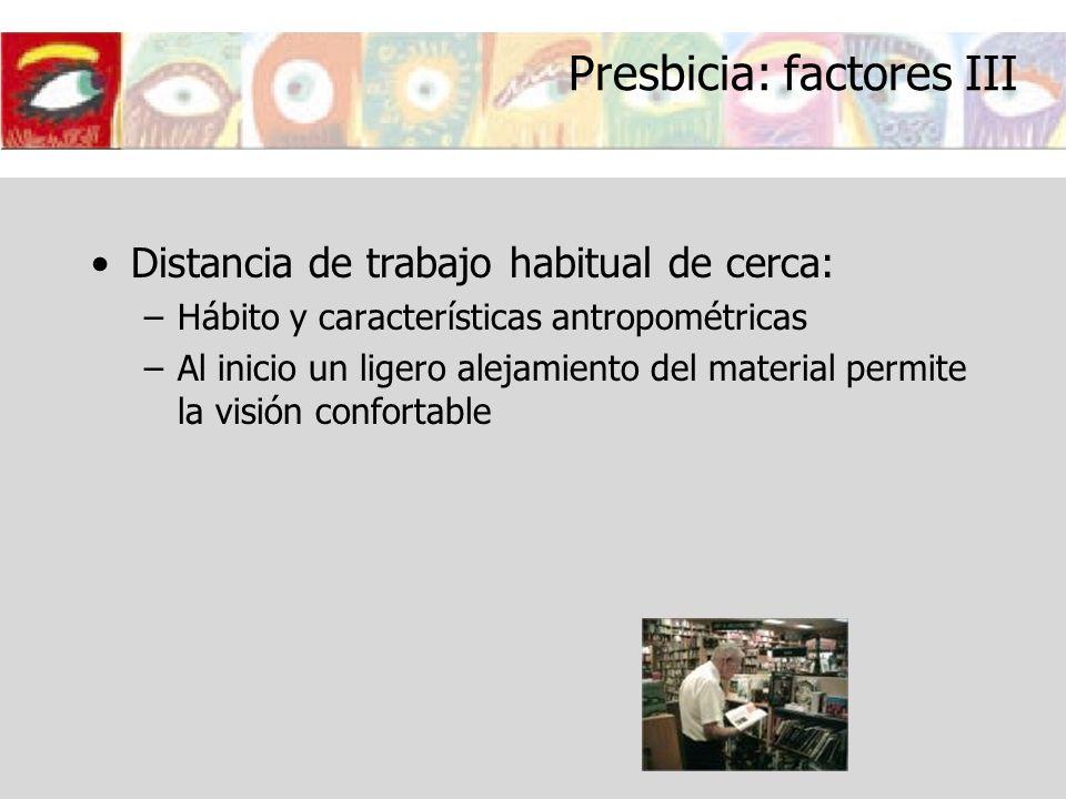 Presbicia: factores III Distancia de trabajo habitual de cerca: –Hábito y características antropométricas –Al inicio un ligero alejamiento del materia