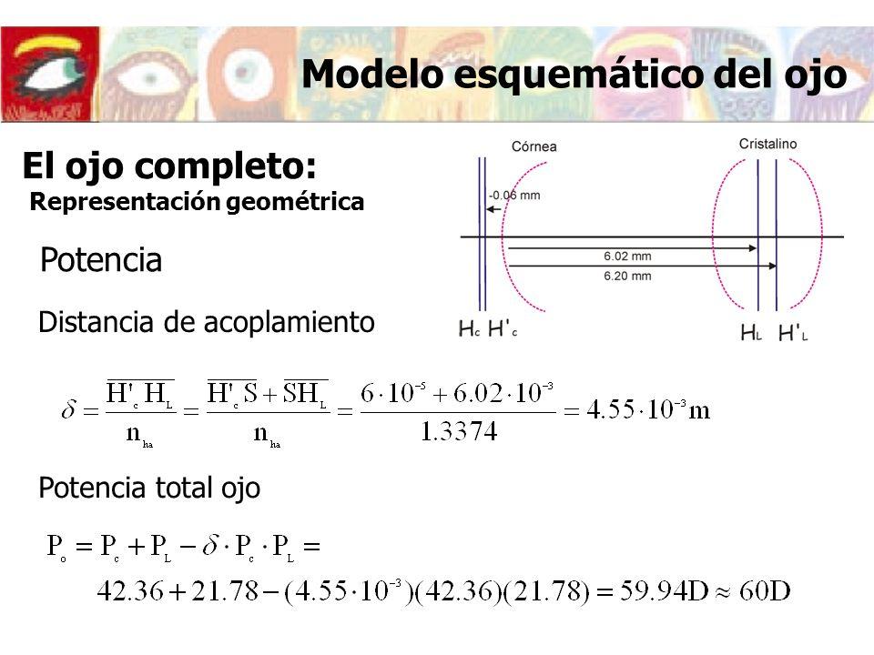 El ojo completo: Representación geométrica Distancia de acoplamiento Modelo esquemático del ojo Potencia total ojo Potencia