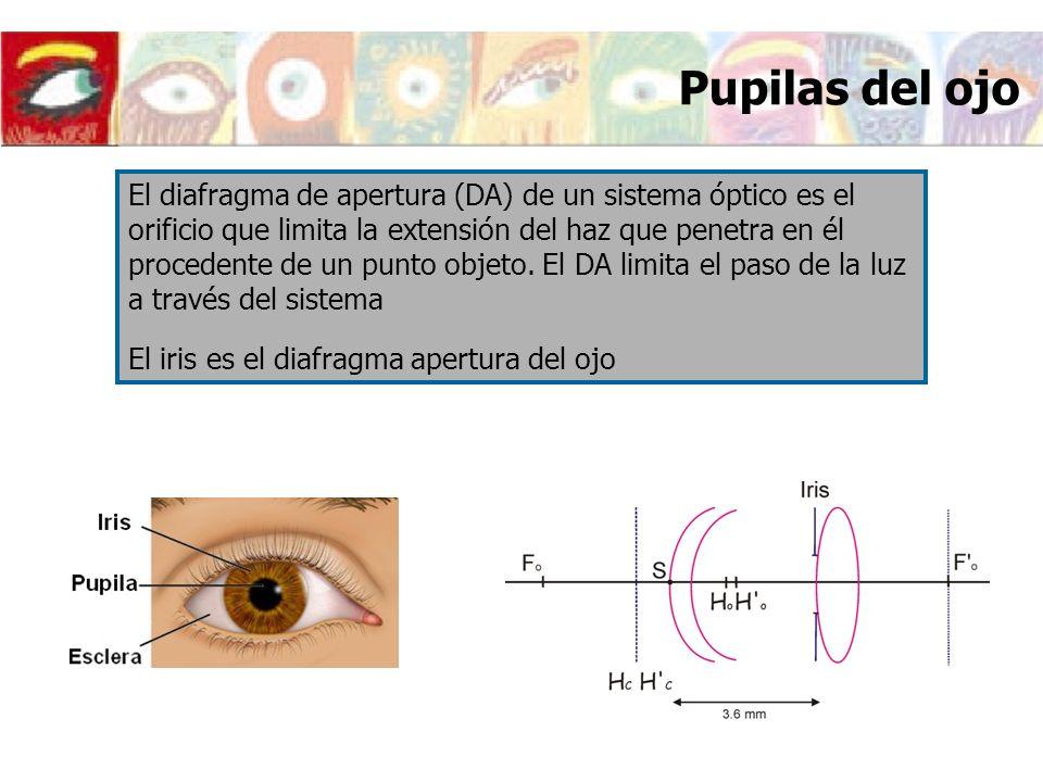 Pupilas del ojo El diafragma de apertura (DA) de un sistema óptico es el orificio que limita la extensión del haz que penetra en él procedente de un p