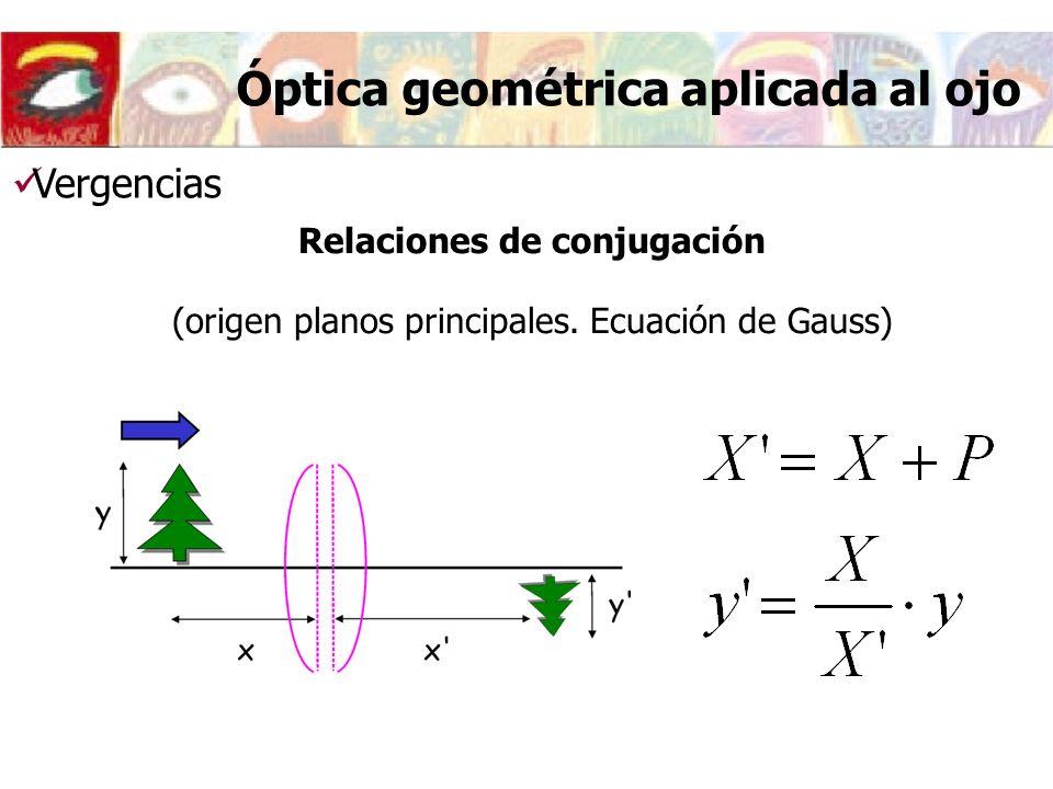 Relaciones de conjugación (origen planos principales. Ecuación de Gauss) Vergencias Óptica geométrica aplicada al ojo