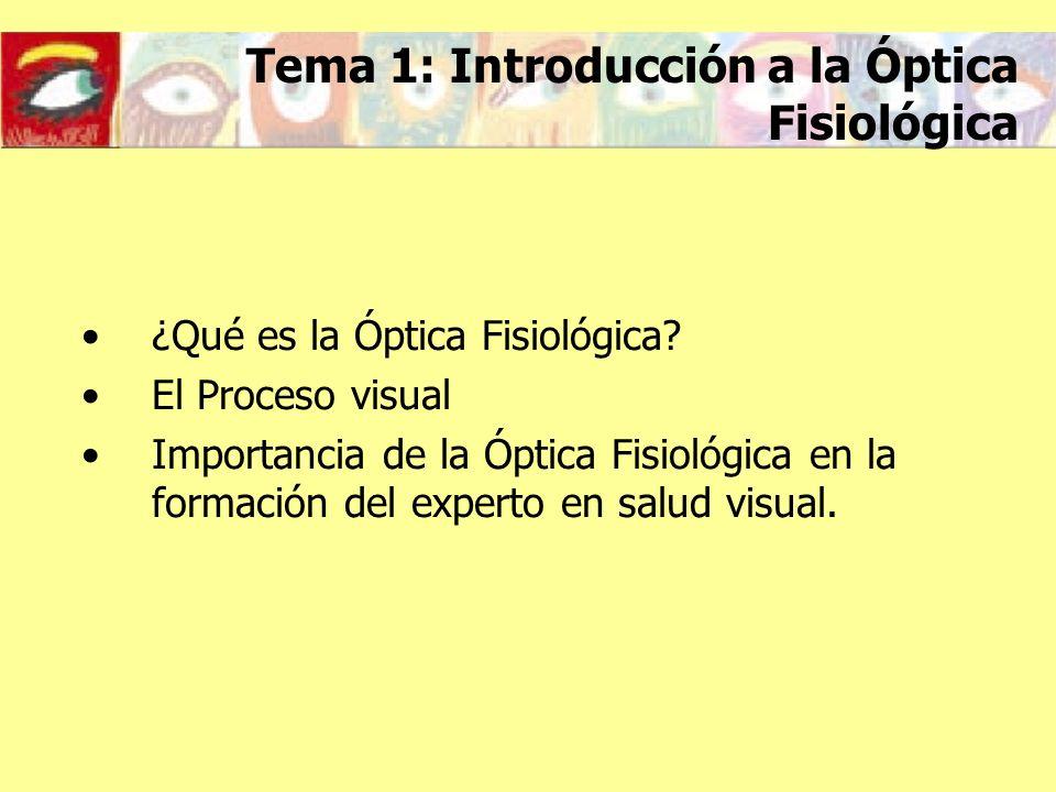 Qué es la Óptica Fisiológica Estudio de las percepciones visuales creadas por el sentido de la vista (Hemholtz) Rama de la Óptica que estudia la percepción visual: la ciencia de la visión (Cline, Hofstetter, Griffin) Rama de la Óptica que estudia los aspectos ópticos, fisiológicos y psíquicos de la visión (Millodot)