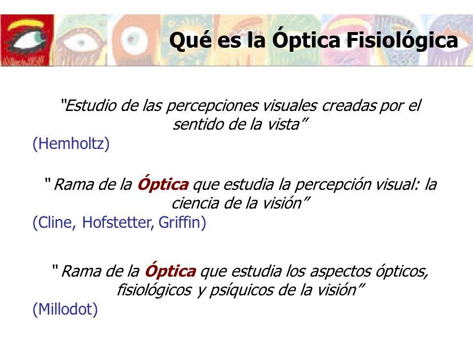 Qué es la Óptica Fisiológica Óptica Fisiológica es la materia que tiene como objetivo el estudio del proceso visual desde un punto de vista fundamentalmente Óptico