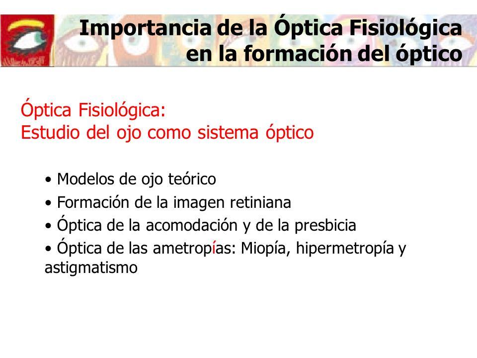 Importancia de la Óptica Fisiológica en la formación del experto en salud visual 1.- Introducción 2.- El ojo teórico 3.- La imagen retiniana 4.- Agudeza visual 5.- Acomodación y presbicia 6.- Óptica de las ametropías esféricas 7.- Neutralización óptica de las ametropías esféricas 8.- Astigmatismo