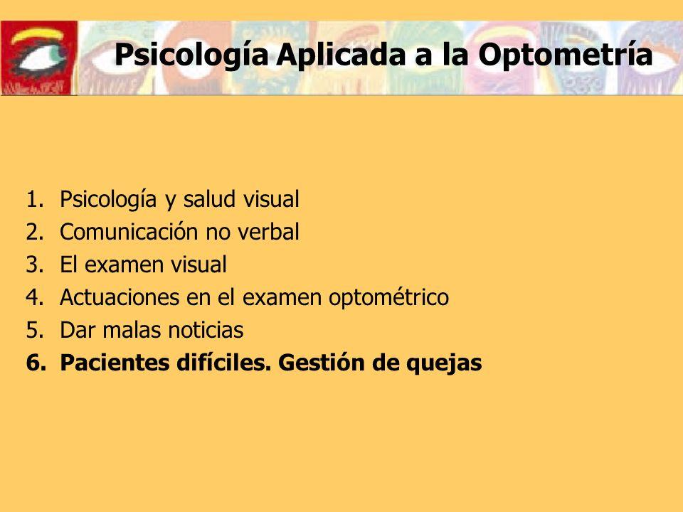 1.Psicología y salud visual 2.Comunicación no verbal 3.El examen visual 4.Actuaciones en el examen optométrico 5.Dar malas noticias 6.Pacientes difíci