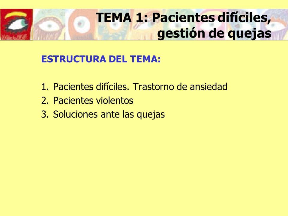 ESTRUCTURA DEL TEMA: 1.Pacientes difíciles. Trastorno de ansiedad 2.Pacientes violentos 3.Soluciones ante las quejas TEMA 1: Pacientes difíciles, gest