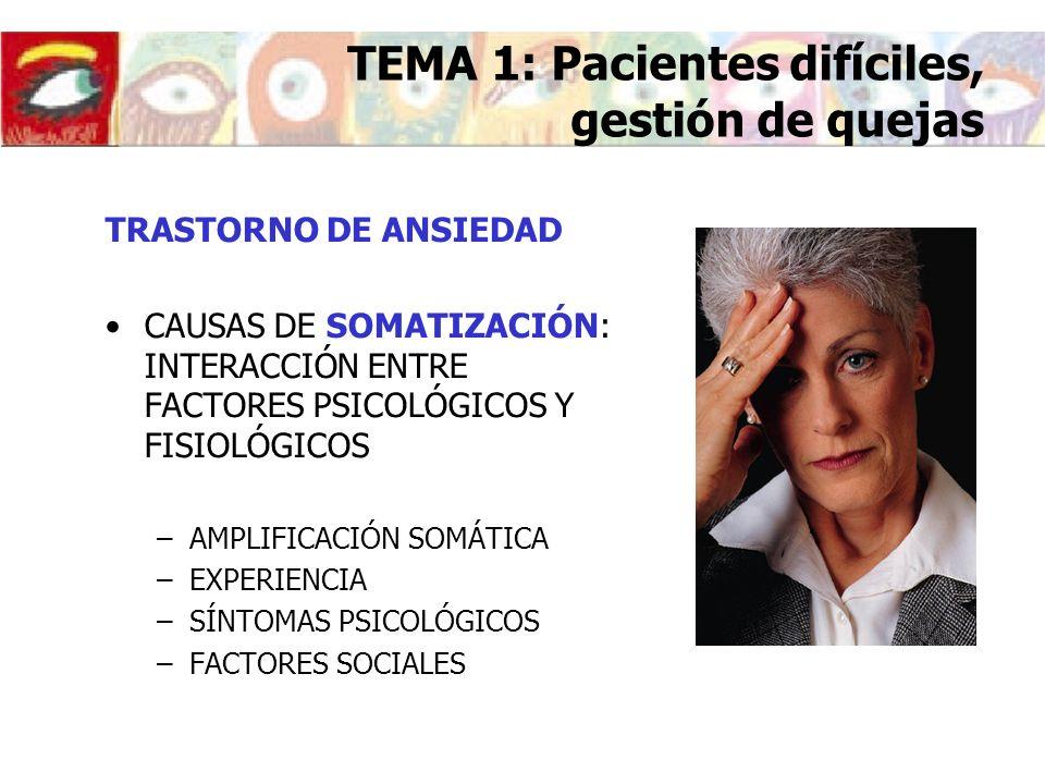 TRASTORNO DE ANSIEDAD CAUSAS DE SOMATIZACIÓN: INTERACCIÓN ENTRE FACTORES PSICOLÓGICOS Y FISIOLÓGICOS –AMPLIFICACIÓN SOMÁTICA –EXPERIENCIA –SÍNTOMAS PS