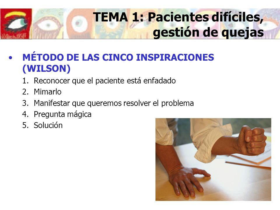 MÉTODO DE LAS CINCO INSPIRACIONES (WILSON) 1.Reconocer que el paciente está enfadado 2.Mimarlo 3.Manifestar que queremos resolver el problema 4.Pregun
