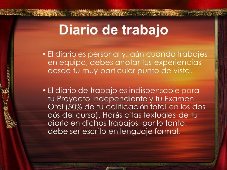 Diario de trabajo El diario es personal y, a ú n cuando trabajes en equipo, debes anotar tus experiencias desde tu muy particular punto de vista.