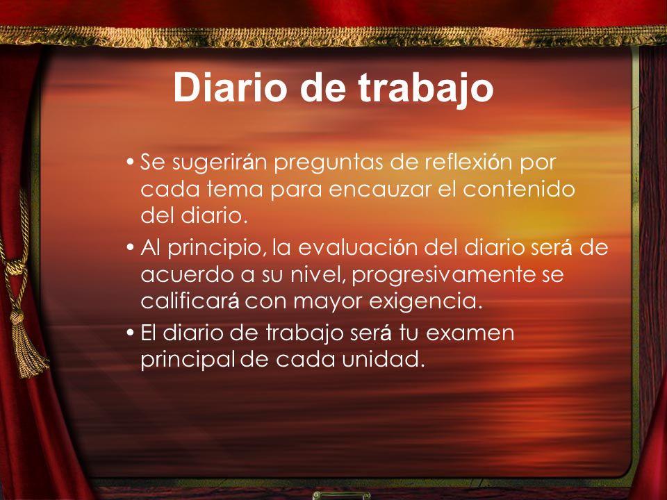 Diario de trabajo Se sugerir á n preguntas de reflexi ó n por cada tema para encauzar el contenido del diario.