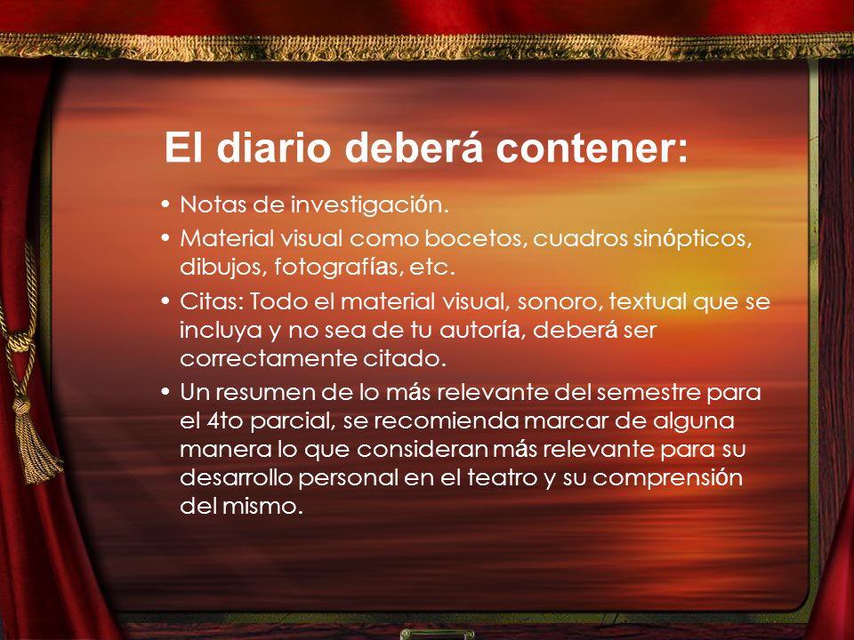 El diario deberá contener: Notas de investigaci ó n.