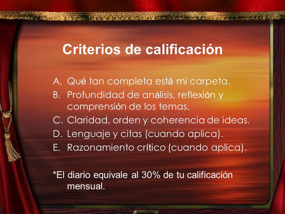 Criterios de calificación A.Qu é tan completa est á mi carpeta.