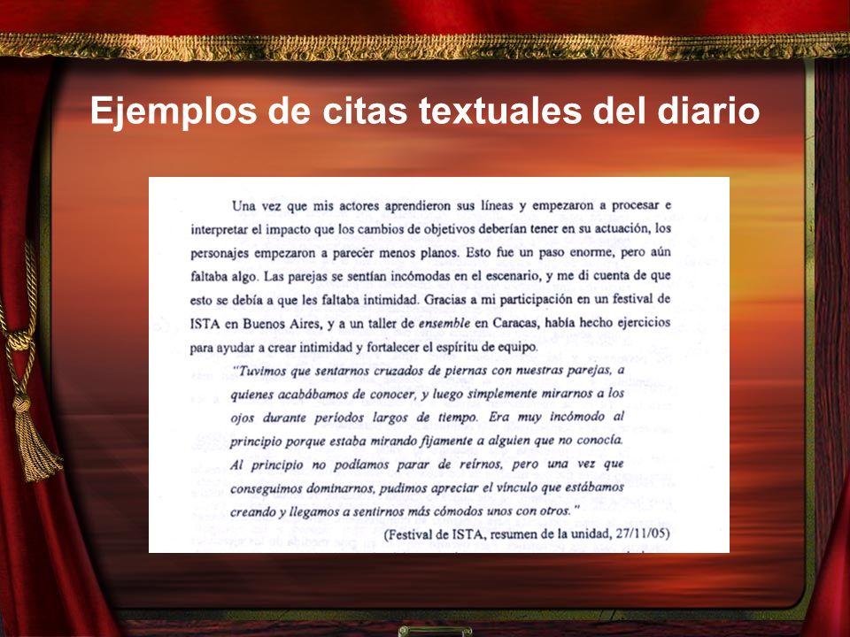 Ejemplos de citas textuales del diario