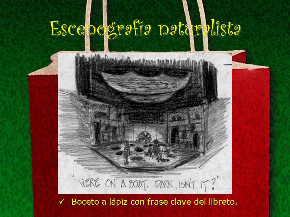 Escenografía naturalista Boceto a lápiz con frase clave del libreto. Boceto a lápiz con frase clave del libreto.