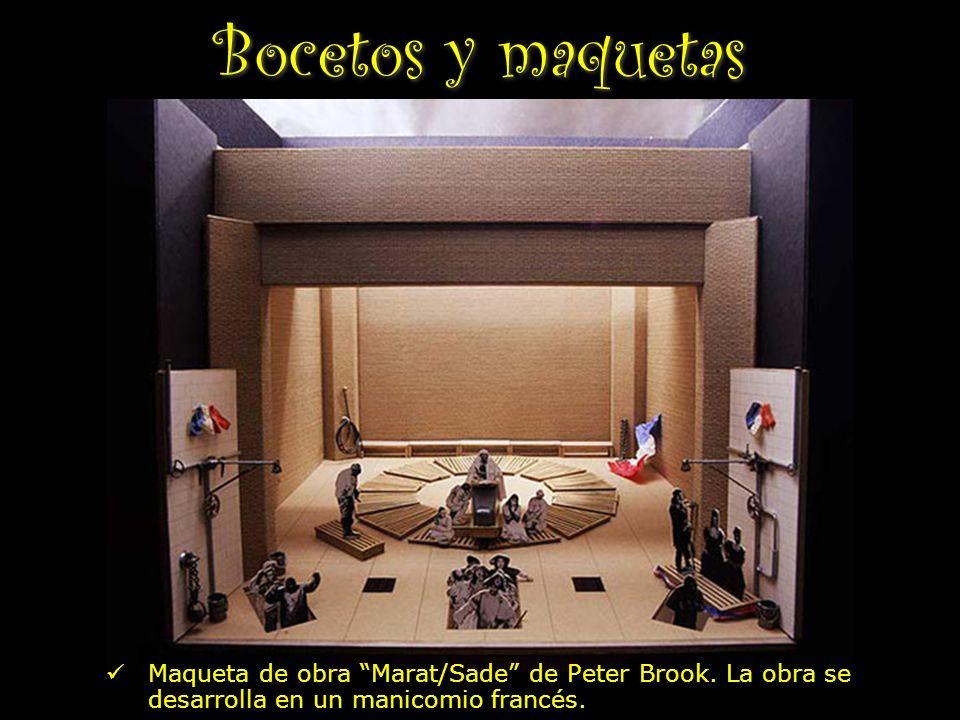 Bocetos y maquetas Maqueta de obra Marat/Sade de Peter Brook. La obra se desarrolla en un manicomio francés.