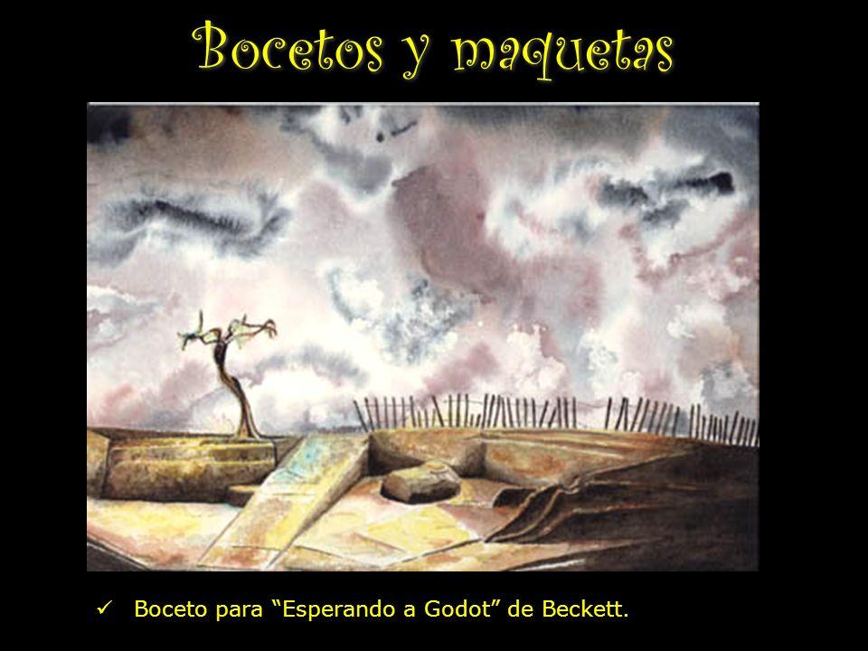 Bocetos y maquetas Boceto para Esperando a Godot de Beckett.