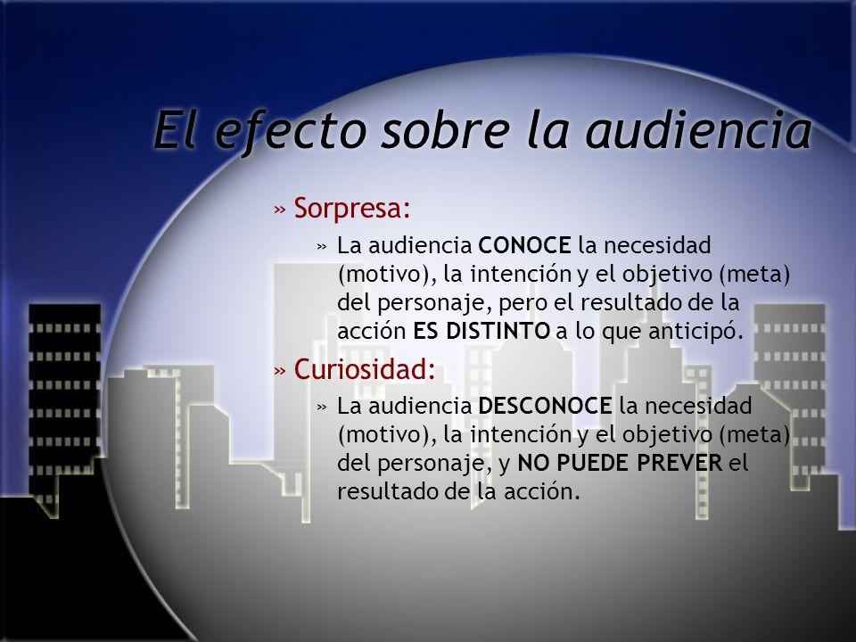 El efecto sobre la audiencia »A»Anticipación: »L»La audiencia CONOCE la necesidad (motivo), la intención y el objetivo (meta) del personaje, por lo qu