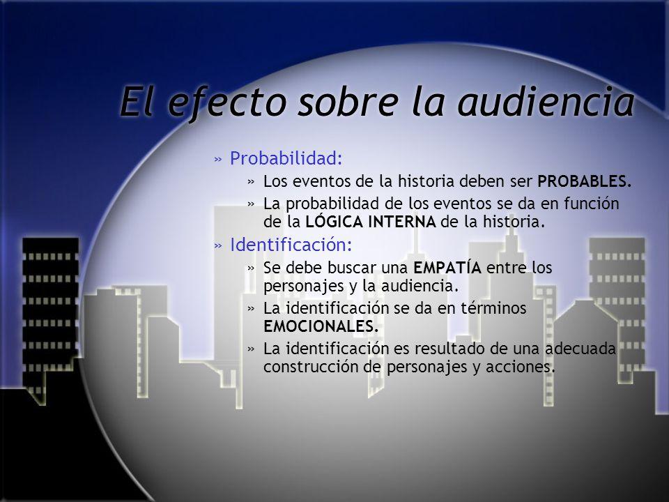 El efecto sobre la audiencia »C»Comprensibilidad: »L»La historia debe ser COMPRENSIBLE para la audiencia. »L»La comprensibilidad se da en términos EMO