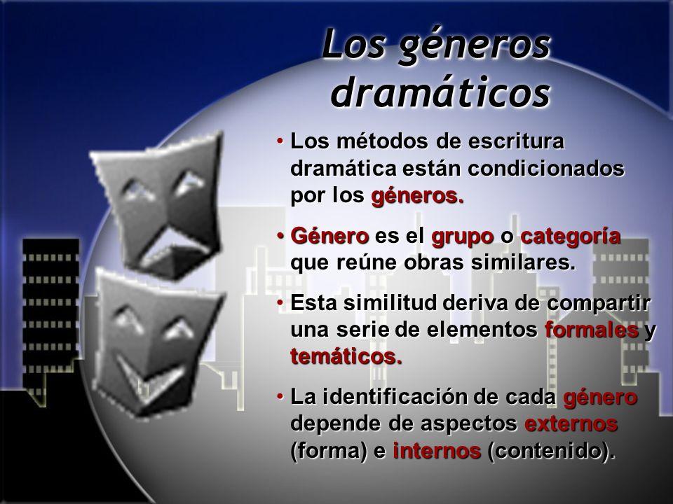 Los géneros dramáticos Los métodos de escritura dramática están condicionados por los géneros.Los métodos de escritura dramática están condicionados por los géneros.