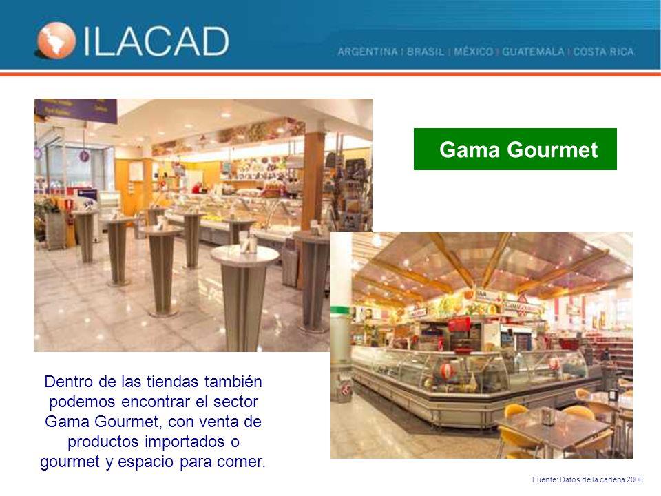 Dentro de las tiendas también podemos encontrar el sector Gama Gourmet, con venta de productos importados o gourmet y espacio para comer.
