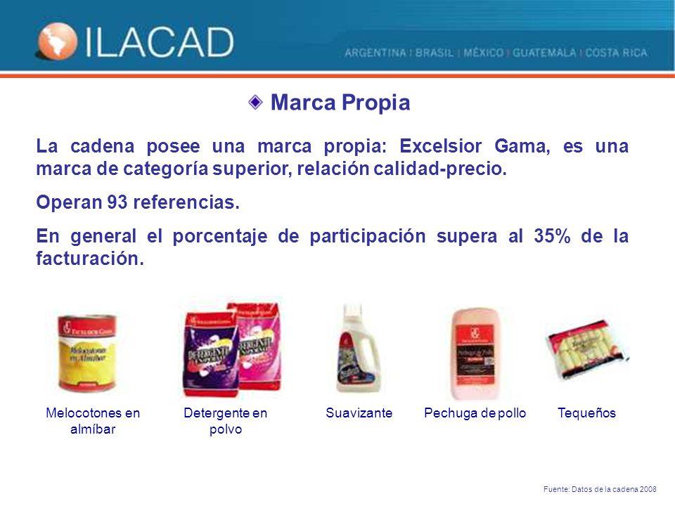 Marca Propia La cadena posee una marca propia: Excelsior Gama, es una marca de categoría superior, relación calidad-precio.