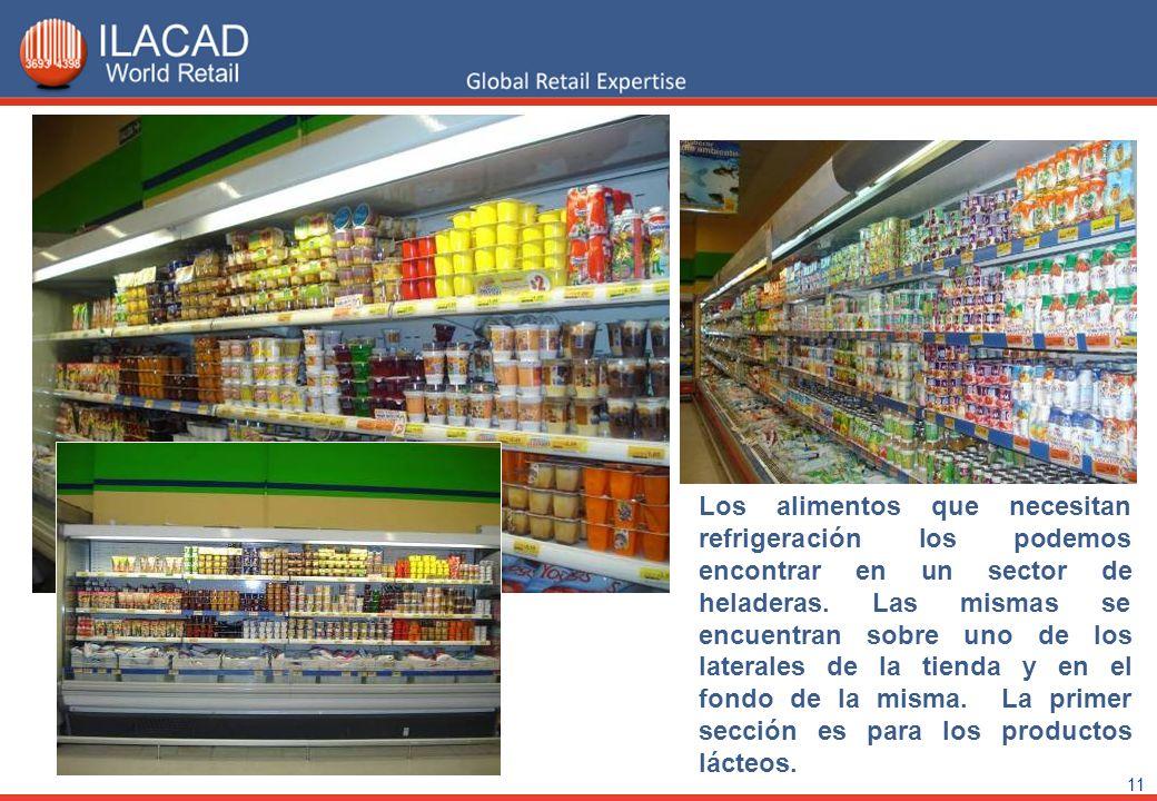 11 Los alimentos que necesitan refrigeración los podemos encontrar en un sector de heladeras. Las mismas se encuentran sobre uno de los laterales de l