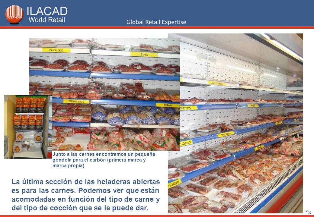 13 La última sección de las heladeras abiertas es para las carnes. Podemos ver que están acomodadas en función del tipo de carne y del tipo de cocción